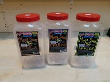 3 x Used Large Plastic Sweet / Fish Bait / Storage Jar - Needs Washing