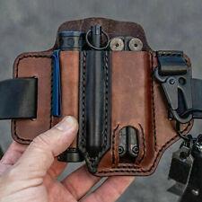 More details for men edc pocket organizer genuine leather multitool knife sheath waist belt pouch