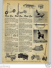 1954 PAPER AD Keystone Ride 'Em Toy Truck Airplane Tractor Plow Locomotive