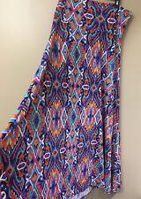 lularoe Multi Color Spring Summer Long Skirt Sz. L- Xl Tall , Made In Usa
