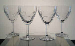 """KENT PHILLIPS Water Goblets 6"""", PHILLIPS CUT GLASS CO MONTREAL, BIRKS, SET of 4"""