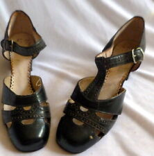 Original Antique 1920s Black Leather T-Strap Heals Shoes Size 5 1/2