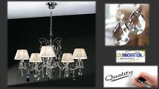 Lampadario moderno sospensione in metallo cromato con decorazioni in cristallo