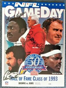 Bill Walsh, Chuck Noll,Dan Fouts, Larry Little Autographed GameDay MagazineCover