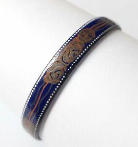 Authentic MICHAELA FREY Bangle Bracelet Enamel Retro Pattern VINTAGE