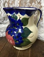 """Italian Hand Painted flower pattern Pitcher Made in Italy  6.5"""" Tall"""