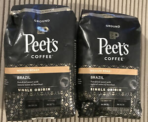 Peet's Brazil Single Origin Medium Roast Ground Coffee 18 oz (Lot of 2) BB 8/21