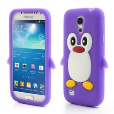 Samsung Galaxy S4 Mini Soft Silikon Case Pinguin Cute 3D Schutz Hülle Cover Lila