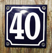 FRENCH ENAMEL HOUSE NUMBER SIGN. WHITE No.40 ON A BLUE BACKGROUND. 10x10cm.