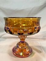 Vintage Indiana Amber Carnival Glass Thumbprint Kings Crown Compote Candy Dish
