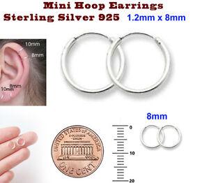 Mini Hoop Earrings Sterling Silver 925 1.2mm x 8mm 10mm 12mm 14mm 16 Super Small