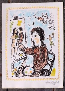 MARC CHAGALL. Ink and watercolour painting. Signed. Not a print.