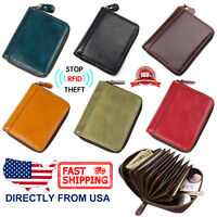 dMen's RFID Blocking Genuine Leather Secure Credit Card Holder Zip Around Wallet