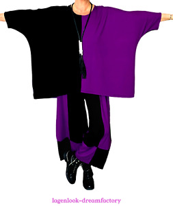 MYO-Lagenlook Oversize Big-Kasten-Shirt Streifen BEERE SCHWARZ 46,48,50,52,54,56