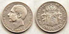 España-Alfonso XII. 1 Peseta 1883**. Madrid. MBC/XF. Plata 5 g. Escasa asi