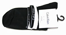NEW CALVIN KLEIN CK WOMEN'S LOGO LOW BLACK-WHITE SOCKS Size 6-9.5 Stretch Cotton