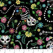 "Northcott ""NINE LIVES"" Fabric Cat SUGAR SKULLS Day Of The Dead BLACK 100% Cotton"