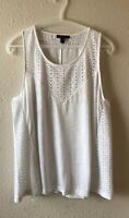 J. Crew Size Large Eyelet Linen Tank Top White Sleeveless