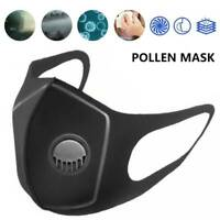Washable Breathable Black Face Mouth Protection With Filter Valved Anti Flu UK