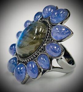 Meher's Jewelry 29.69ctw Black Rhodium Tanzanite & Labradorite Gem Flower Ring