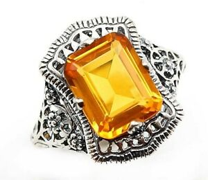 2CT Citrine 925 Solid Sterling Silver Ring Art Deco Style Jewelry Sz 8, PO32