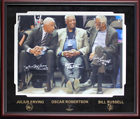 Bill Russell, Oscar Robertson & Julius Erving Signed Framed 16x20 Photo (JSA)
