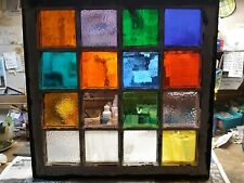 """Stained glass in Vintage window...26"""" x 25"""""""