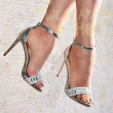 Ladies Diamante High Heel Evening Shoes Ankle strap Open Toe Sandals Party Shoes