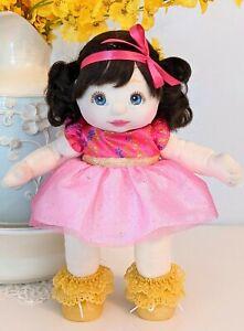 1986 Mattel My Child Doll Blue-eyed Brunette PuppyTail Unique Dress Shoes *READ*