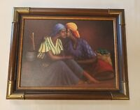 "JACQUES SAINT SURIN ""GOSSIP""  LITHOGRAPH ON CANVAS 19"" X15"" FRAMED HAITI"