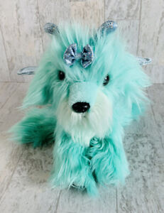 """Aurora Kittipillers and Puppillons Puppy Dog Glitter Wings Green Blue Plush 10"""""""