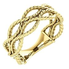 Rope Style Design Band Ring created in 14K. Solid Yellow Gold in Size 7 Sizable