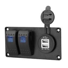 2 Gang LED Rocker Switch Panel Circuit Breaker Dual USB Charger Car Marine  ^P