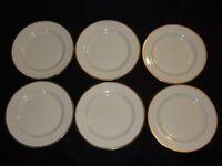 "Set of 6 Johnson Bros England Cream Gold Trim 9 7/8"" Dinner Plates"