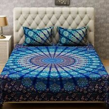 Indian Multi Peacock Style Bed Cover Queen Bedding Sheet Covers With 2 Pillows