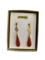 Red Agate Earrings 14K Post New Vintage