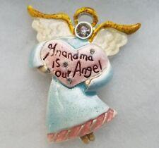 NEW Grandma Is Our Angel Grandmother White Rhinestone Pin Brooch Gift