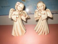 Vintage 1974 Ceramic 8 inch Tall Angels Playing Musical Instruments (Lot of 2)