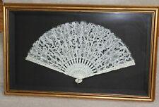 Vintage Lace Sequins Carved Bone Folding Hand Fan, Gold Shadowbox Frame