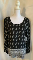 Faded Glory Women's Small 4-6 Black Elevated Tunic Blouse W/Cross Back NWT