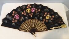 """VTG 17"""" Hand Painted Hand Fan Pierced w/ Gold Original Box Label Florence Italy"""