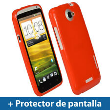 Rojo Case TPU Gel para HTC One X + Plus S720e Android Funda Cover Carcasa Uno 1