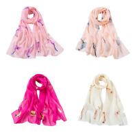 Ladies Long Fashion Soft Flower Bird Print Pattern Shawl Scarf Silk Scarves UK