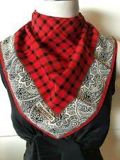 VALENTINO Italy Silk Red,Black,White Check & Paisley Scarf 44x44cm Handroll Hems