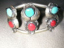 Hand Made Native American Sterling Silver cuff bracelet inlaid Turquoise Coral