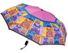Laurel Burch Compact Umbrella Whiskered Cats Auto Open Large Canopy New