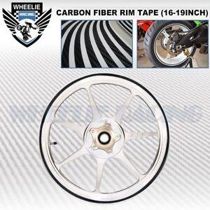 CARBON FIBER RIM TAPE WHEEL STRIPE MOTO CAR BIKE DECAL STICKER 16 17 18 19 INCH