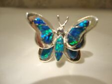 AMAZING Butterfly Ladies Blue Black FIRE Opal Ring Sterling Silver 925 3d 9 $225