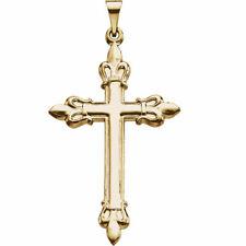 Neues AngebotFleur-De-Lis Kreuz Anhänger IN 14K Gelbgold