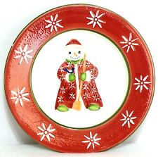 """BLOCK GEAR FATHER CHRISTMAS SNOW PEOPLE 8"""" SALAD PLATE - Snowman with Broom"""
